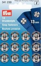 Bouton pression laiton argent 9mm plaquette de 20 pcs